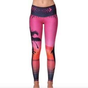 Teeki Leggings XS Palm Tree Dolphin Sunset Beach